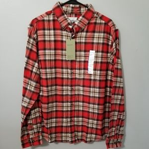 NWT Goodfellow Size L Red and Brown Flannel Shirt